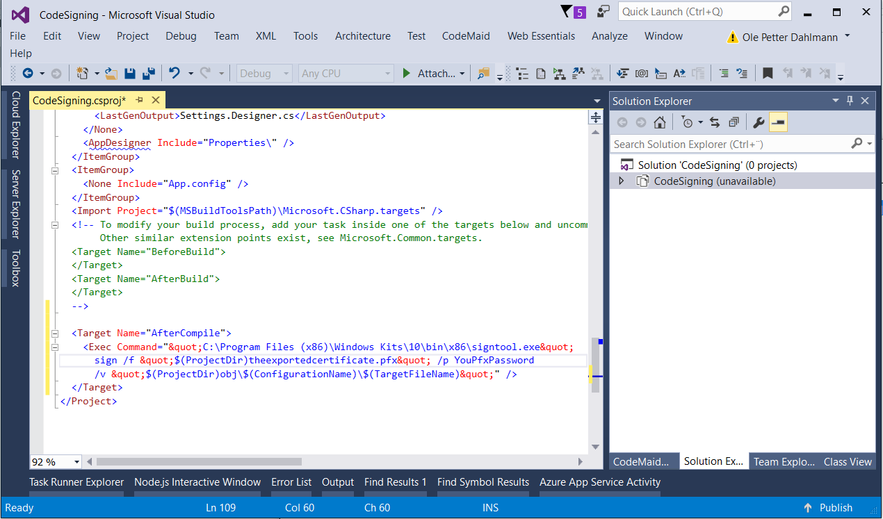 Code signing WPF Application – Part 2 – Ole Petter Dahlmann