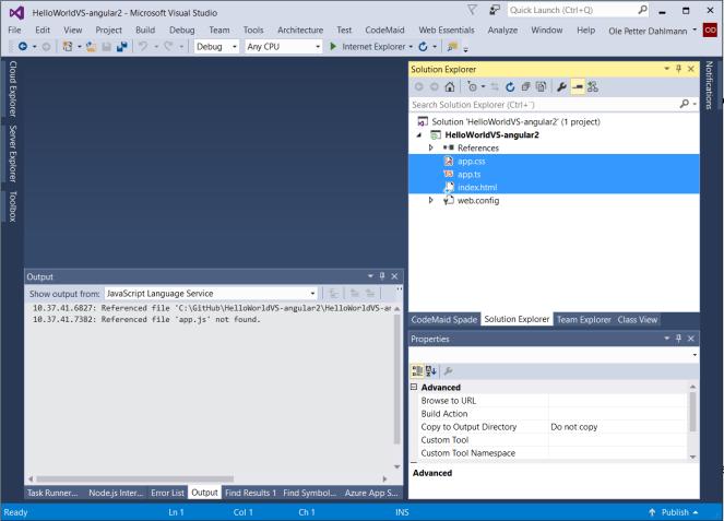 Angular 2 in Visual Studio 2015 – Ole Petter Dahlmann