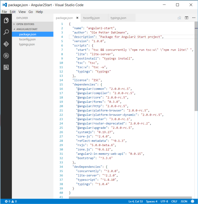 Angular 2 startup project in Visual Studio Code and Visual
